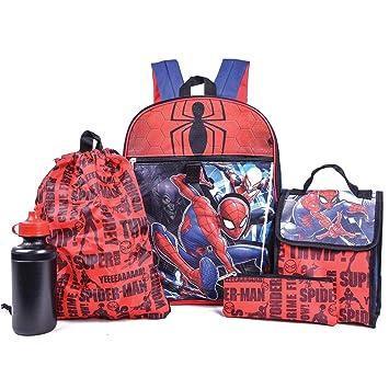 Spiderman Marvel Mochila Combo Set - Marvels 5 Piezas Mochila Escuela Set: Amazon.es: Equipaje