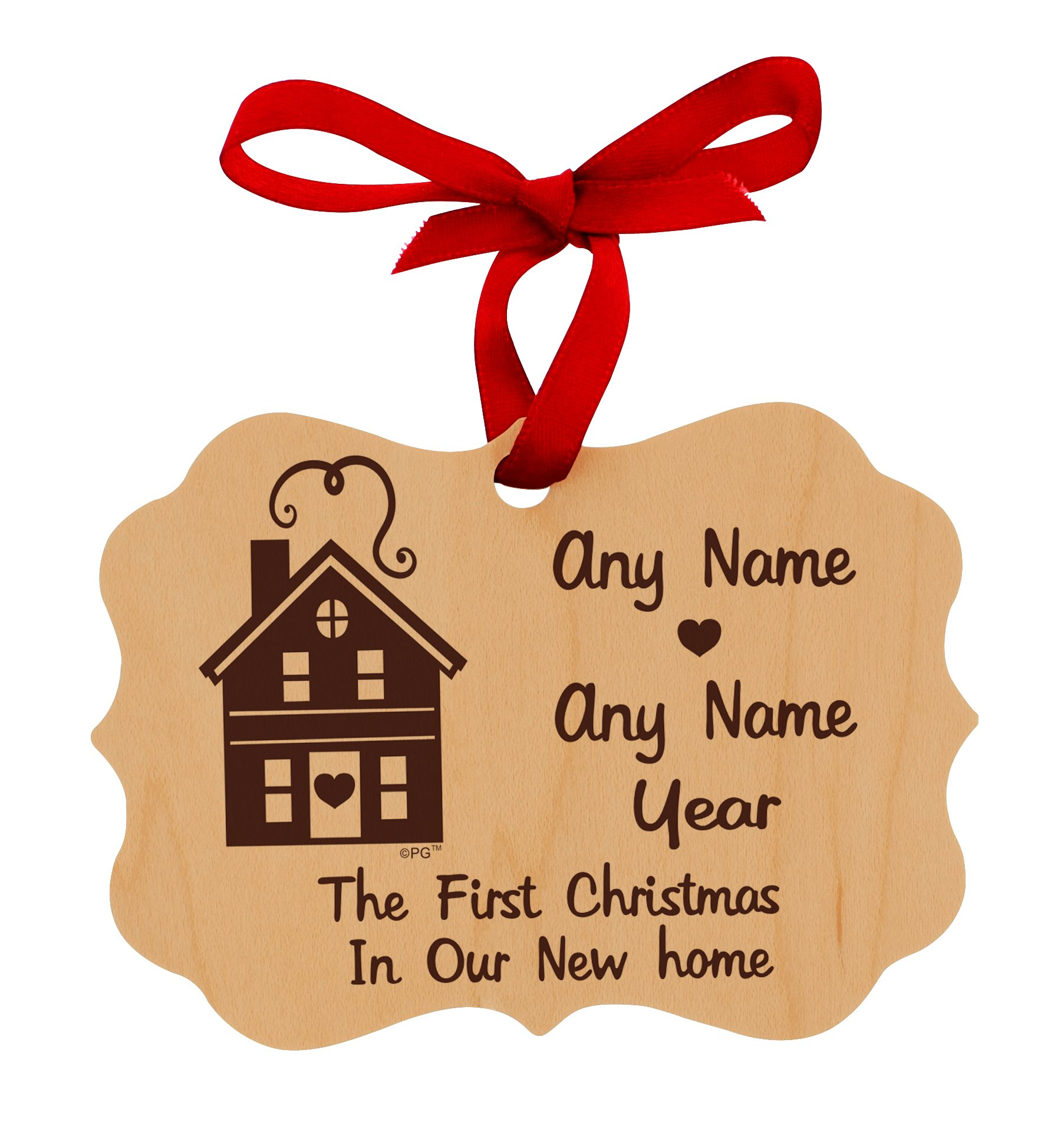 Personalized Wedding Anniversary Christmas Ornaments First Year in Our New Home Customized Names & Anniversary Date Maple Wood Personalized Christmas Ornament New House