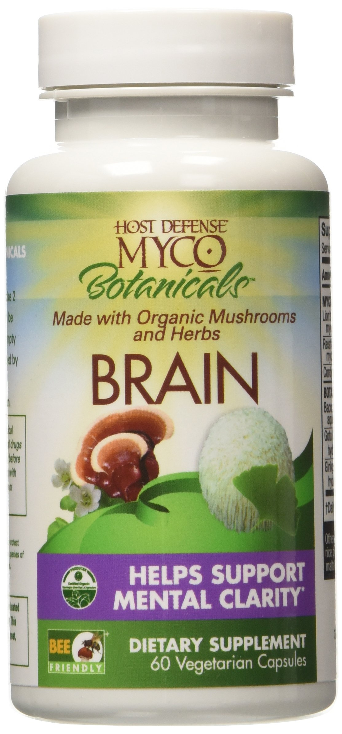 Host Defense - MycoBotanicals Brain, Mushroom and Herb Support for Mental Clarity, 60 Count (FFP)