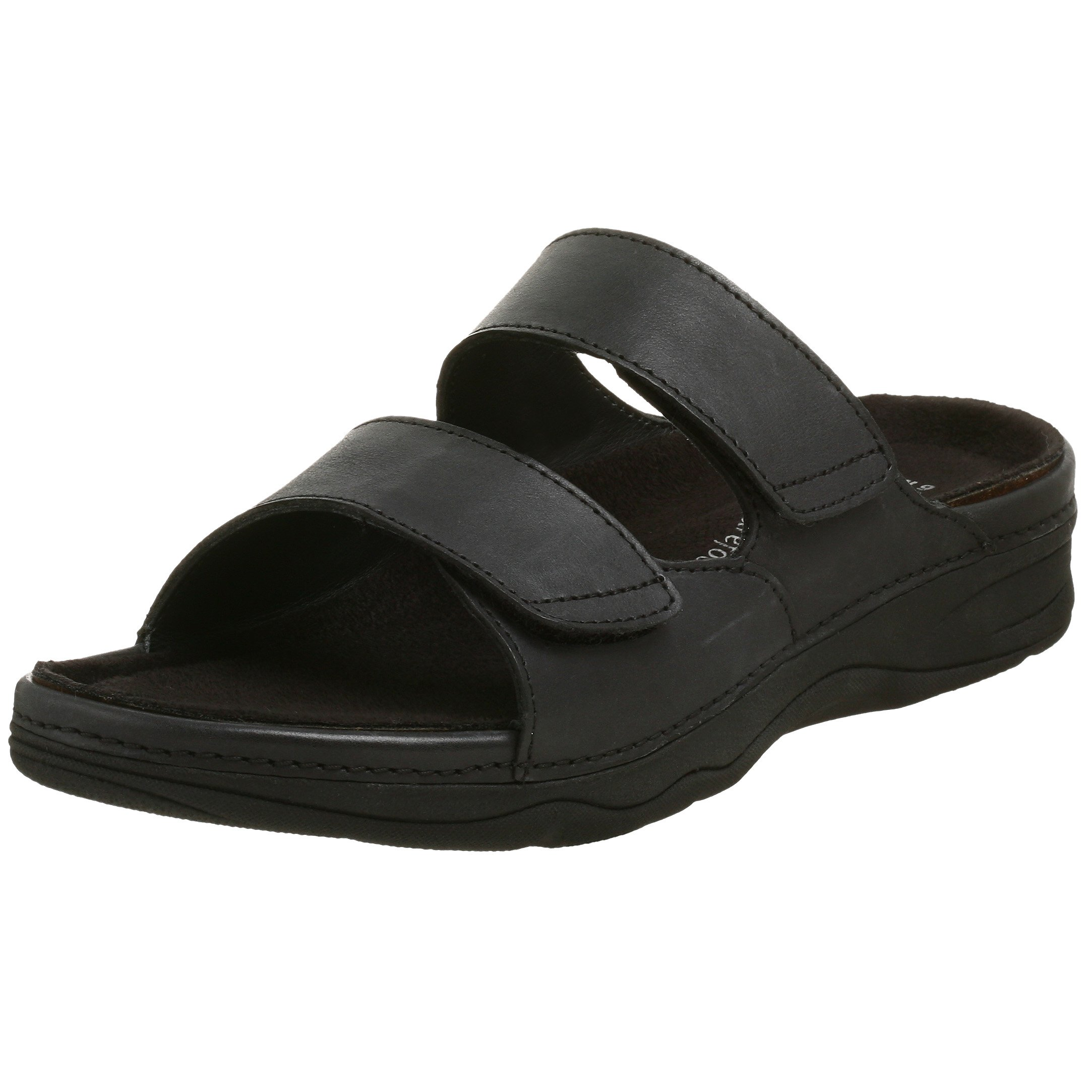 Drew Shoe Women's Milan Sandal,Black Leather,9.5 W US