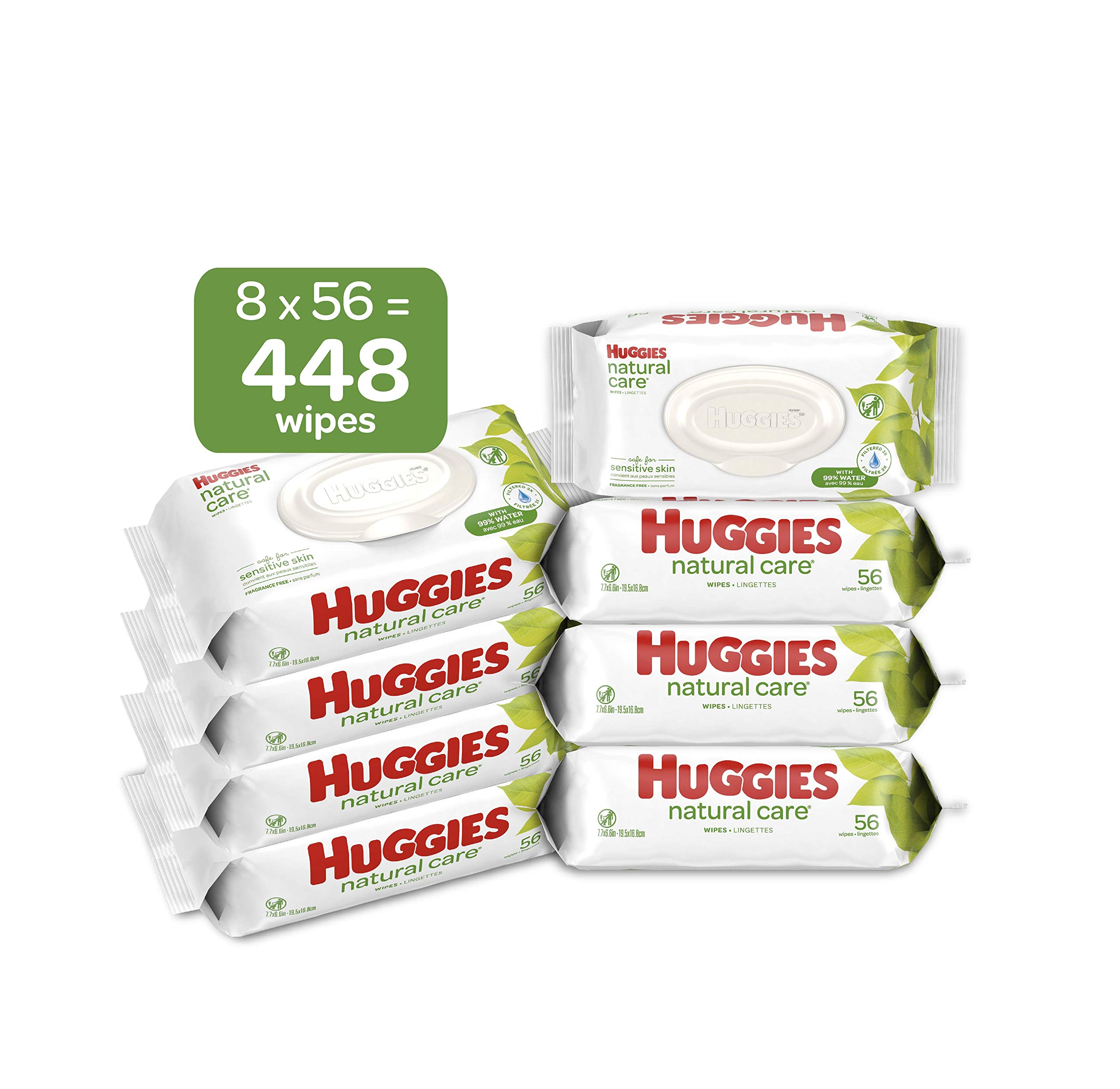 HUGGIES Natural Care Unscented Baby Wipes, Sensitive, 8 Flip-top Packs, 448 Count by HUGGIES