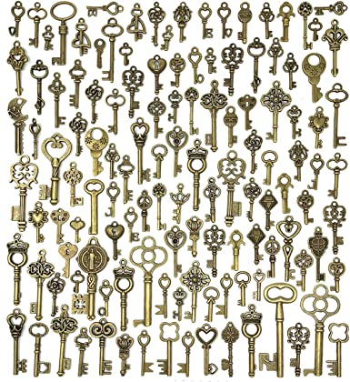 Key Charms Key Pendants Antique Bronze Tone Skeleton keys Double Sided 45 mm1 34 inches