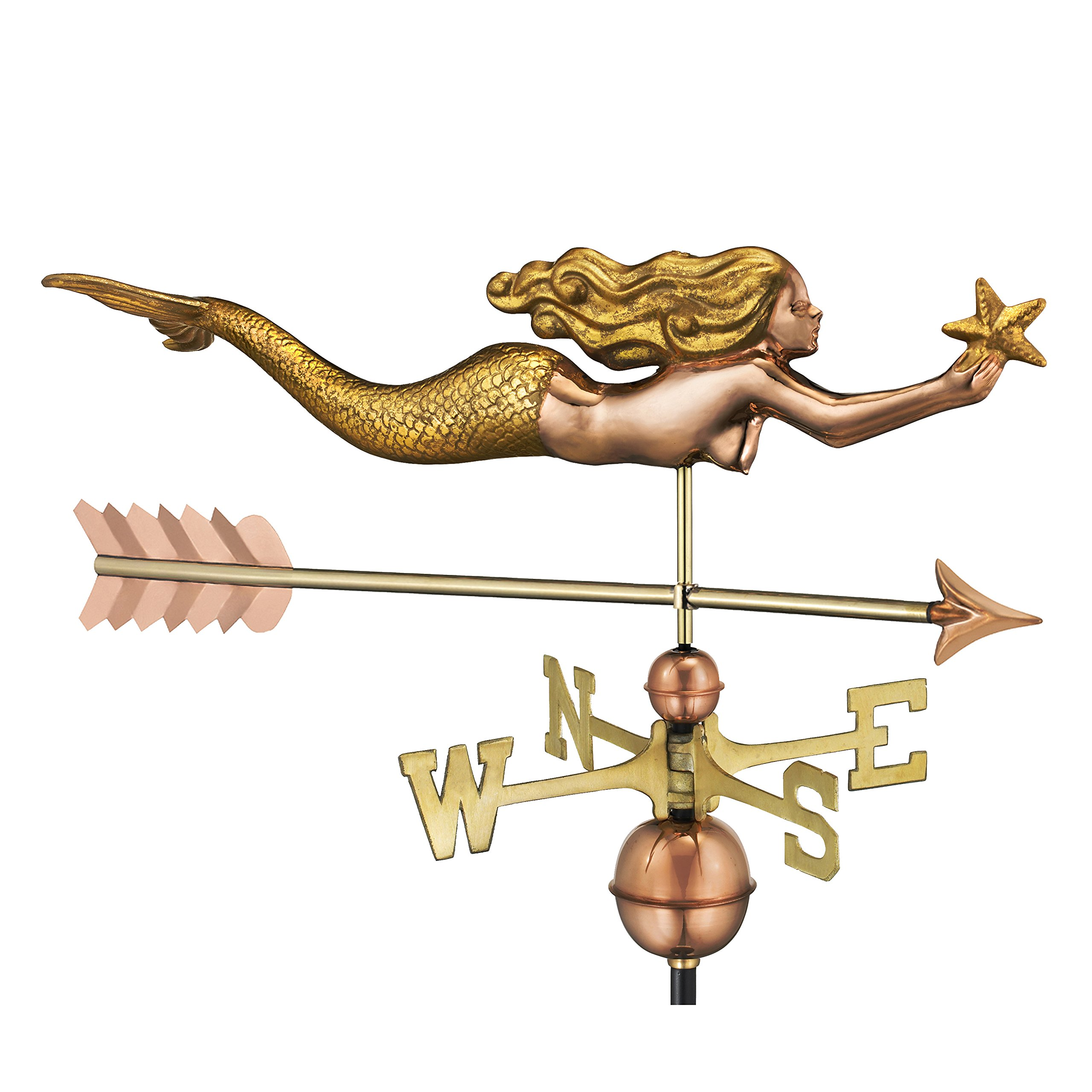 Good Directions Mermaid with Starfish and Arrow Weathervane - Pure Copper with Golden Leaf Finish