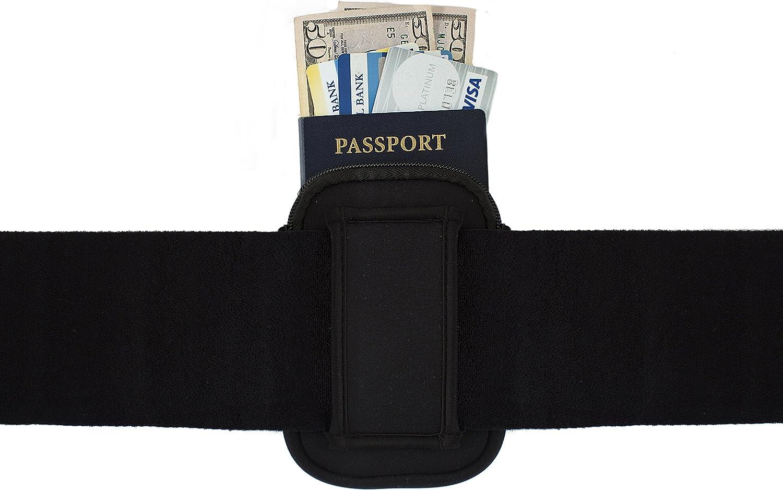 Hidden Neoprene Zipper Pouch with Leg Strap for First Aid, Camping, Passport, Flask, Money