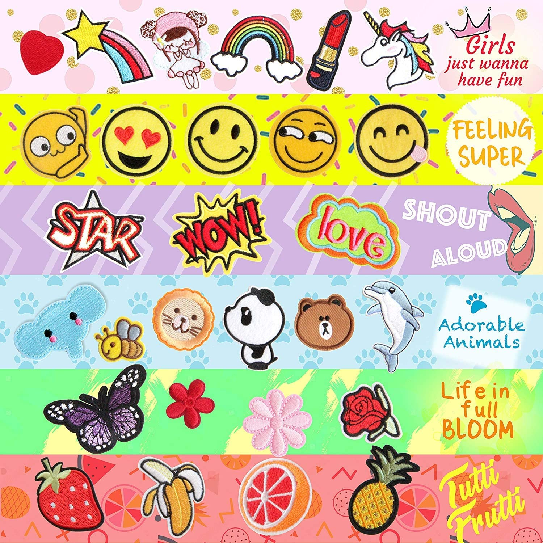 Sunshine smile 60PCS aufn/äher Kinder,Zum Aufb/ügeln f/ür DIY,Patches zum Aufb/ügeln,Applikation Flicken Zum Aufb/ügeln,Patch Sticker,Jeans Kleidung Patches Tiere,Cartoon Pflanzen