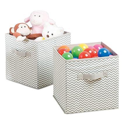 gris topo//natural ropa o juguetes Caja de tela para art/ículos de beb/é y ni/ños mDesign Juego de 4 Cajas para organizar juguetes Organizador de tela para mantas