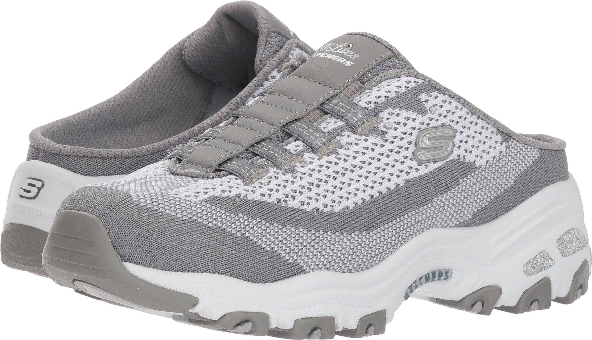 Skechers D'Lites A New Leaf Womens Slip On Sneaker Clogs Gray/White 8.5