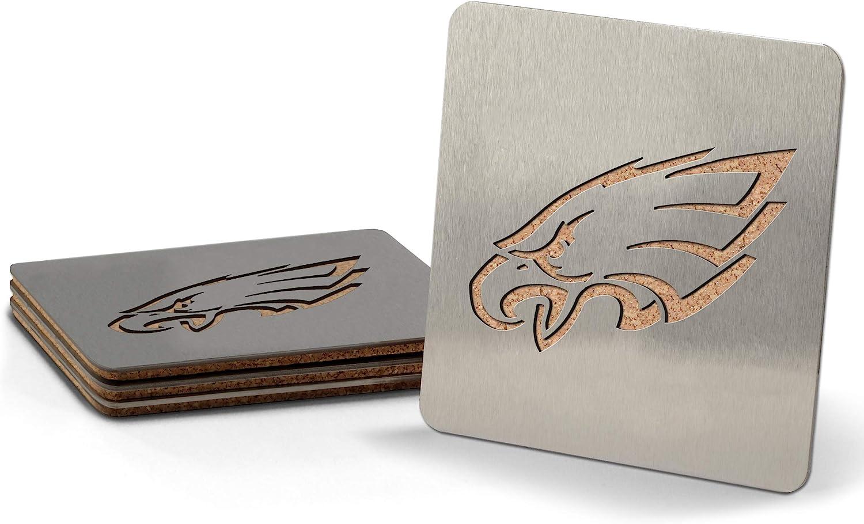 YouTheFan NFL Boasters (Drink Coasters): 4-Piece Stainless Steel, Laser-Cut Team Coaster Set