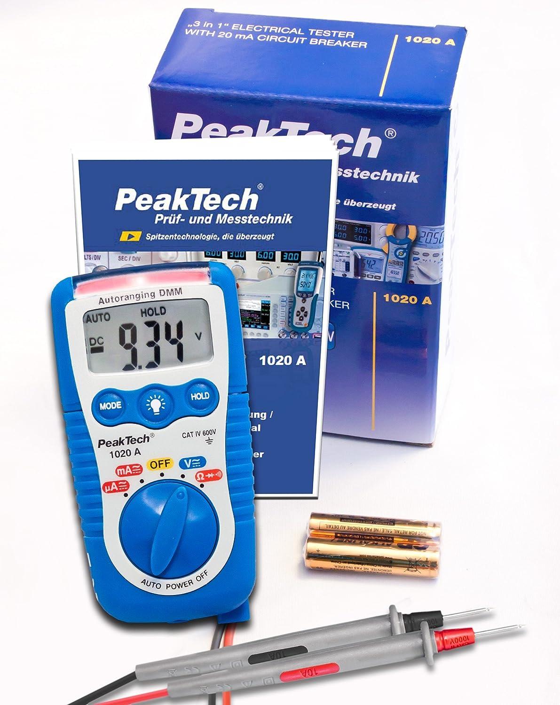 Peaktech 1020 A Spannungsmesser Inkl Led Lampe Handmultimeter Data Hold Digitales Multimeter Messgerät Voltmeter Widerstand Elektronisches Strommessgerät Durchgangsprüfer Ac Dc Max 600 V Gewerbe Industrie