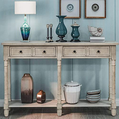Pine Wood Media Console Table for Entryway Hallway, with Drawers and Shelf, Grey Wash