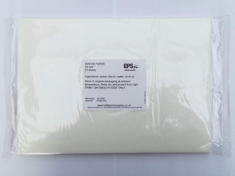 EPS Edible Wafer Potato Starch Paper Pack 25 plain white A4 sheets