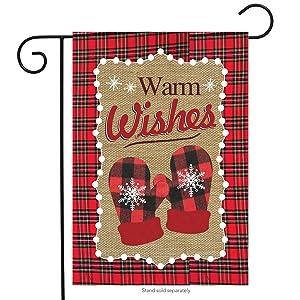 "Briarwood Lane Warm Wishes Burlaps Winter Garden Flag Mittens Let It Snow 12.5"" x 18"""