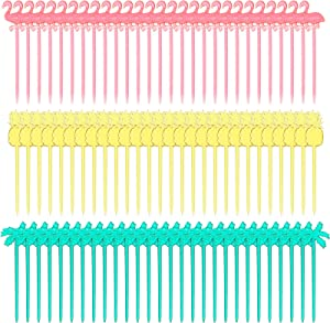 300 Pieces Plastic Cocktail Picks Fruit Stick Appetizer Picks Plastic Drink Picks Flamingo Pineapple Palm Tree Cupcake Toppers for Luau Tropical Hawaiian Pool Party Supplies, 3 Styles