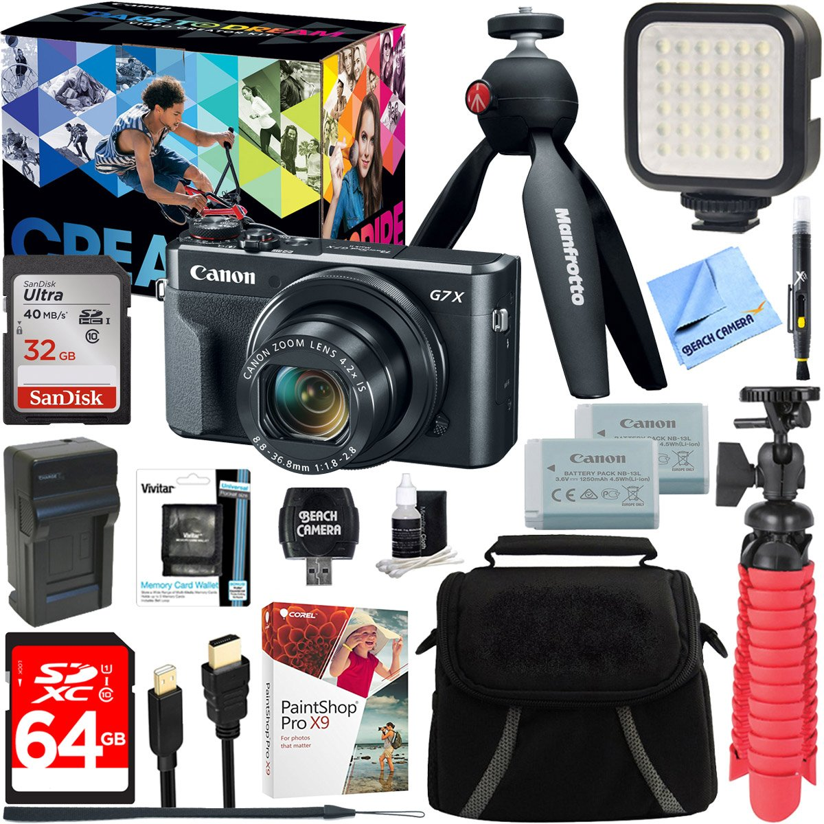 Canon PowerShot G7 X Mark II 20.1MP 4.2x Optical Zoom Digital Camera Video Creator Kit + 64GB SDXC Memory Card + Accessory Bundle by Beach Camera