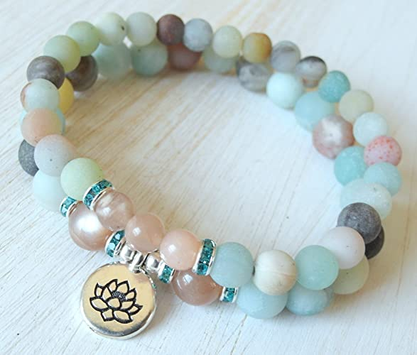d54dcf73c76b72 Yoga stack, Yoga bracelets, peach Moonstone, Amazonite, bracelet set, Reiki  Charged, stacking malas, Your Choice Charm (om, lotus, Buddha) Anti-anxiety