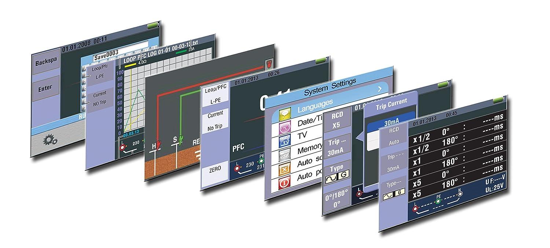 CAT III 600V app para iOS y Android USB y tarjeta SD multifunci/ón seg/ún VDE con pantalla TFT a color de 3.5 IP 65 memoria interna Probador de instalaci/ón VDE-0100 con Bluetooth PeakTech 2755