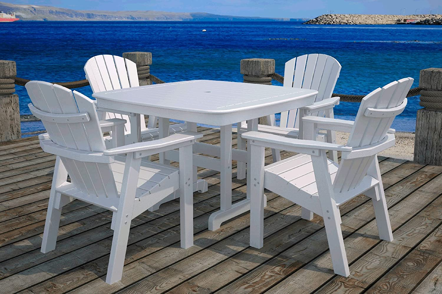 Amazon.com : POLYWOOD Outdoor Furniture Nautical 37 Inch Dining Table,  White Recycled Plastic Materials : Patio Dining Tables : Garden U0026 Outdoor