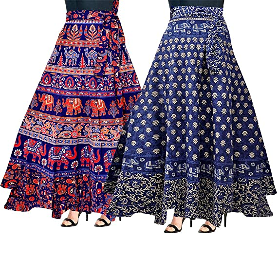 a669f1c4d Image Unavailable. Image not available for. Colour: Mudrika Women's Cotton  Jaipuri Rajsthani Full Long Skirt ...