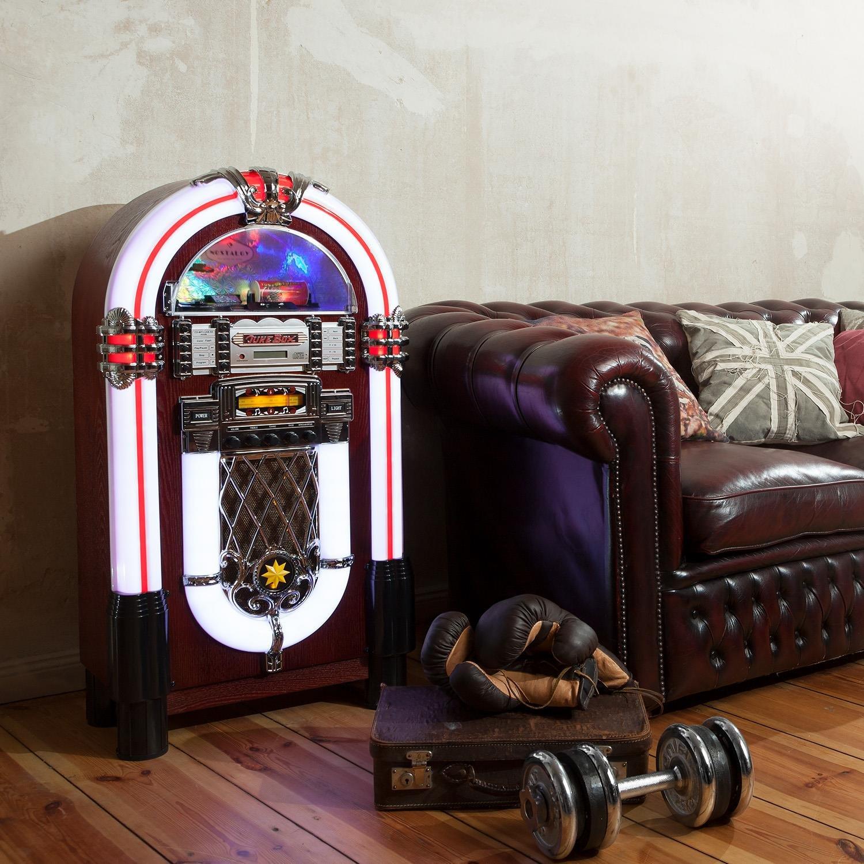 Port USB, Lecteur de Carte SD, AUX, Radio FM//AM, Lecteur CD, /éclairage LED Auna Graceland XXL BT Jukebox Bluetooth Style ann/ées 50
