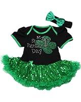 My 1st St Patrick Day Baby Dress Black Bodysuit Green Sequin Tutu Nb-18m