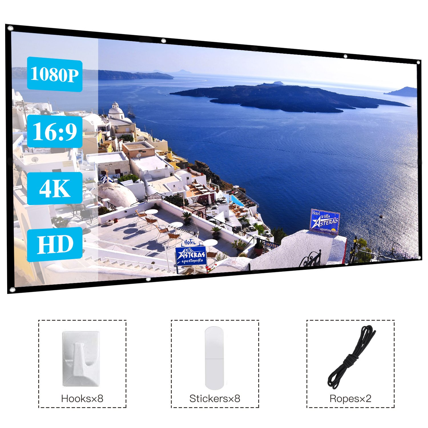 120 Inch Projector Movie Screen, ASINNO Portable Folding Indoor Outdoor 4K HD 16:9 Movie Projection Screen for Meeting/Home/Cinema/Theater /Presentation by ASINNO