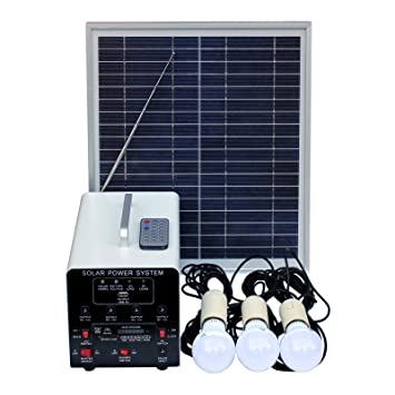 15W Off-Grid Solar Lighting System with 3 LED Lights, FM Radio and MP3  Player - Complete Solar Lighting Kit with Solar Panel, Battery and Cables