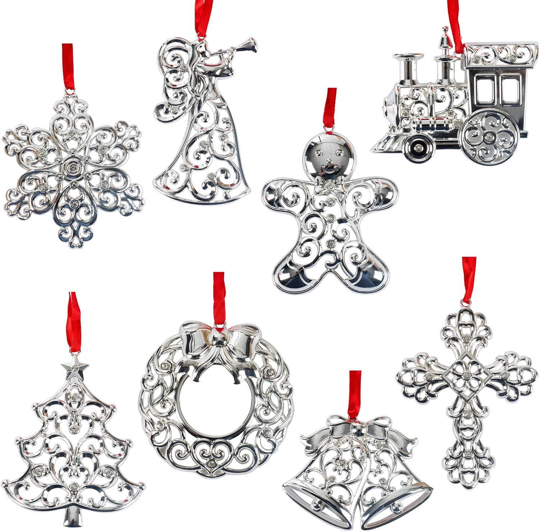 Lenox SPARKLE /& SCROLL ROUND SNOWFLAKE Christmas Ornament Silverplate Clear Gems