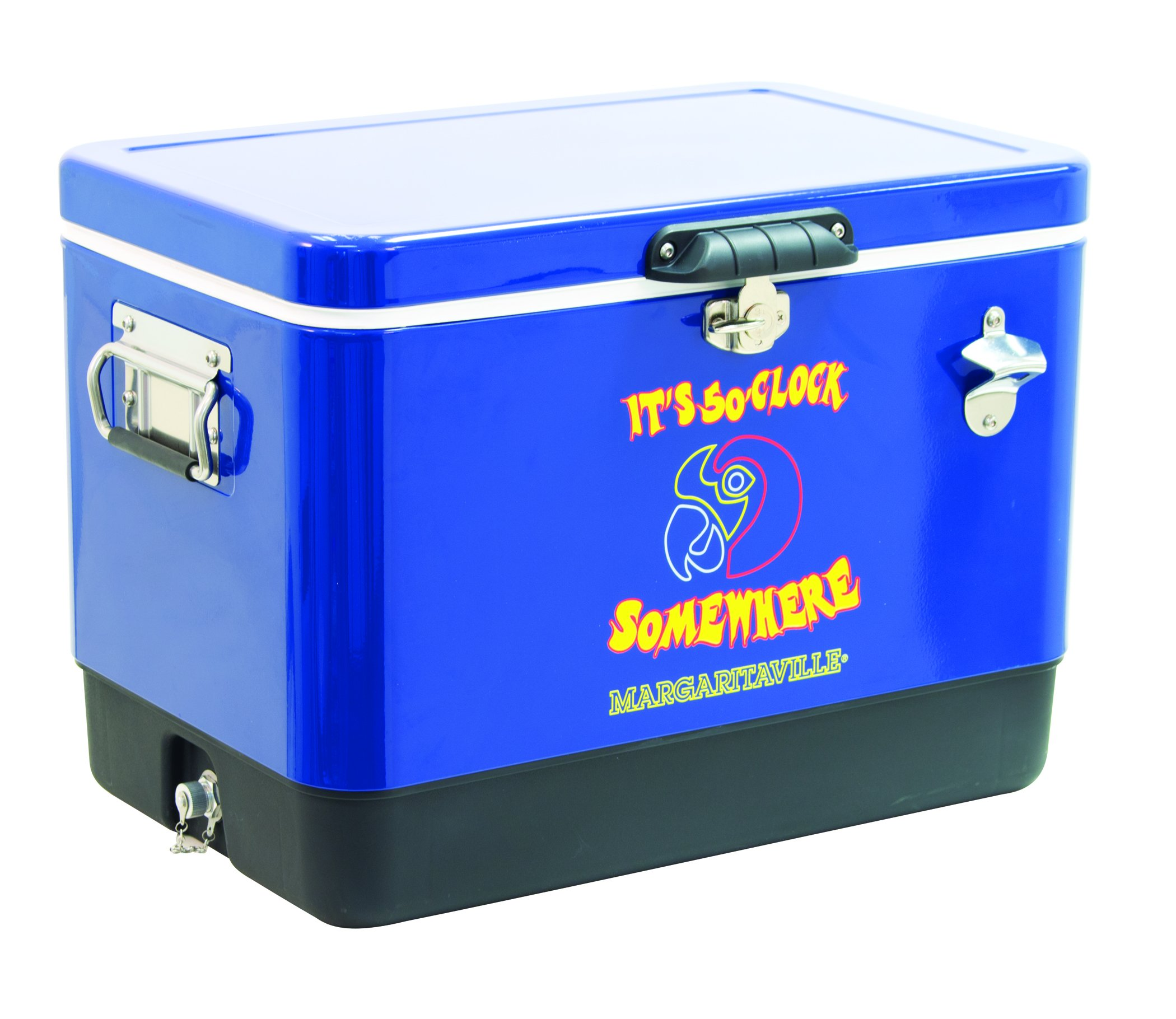 Margaritaville Outdoor ATC54MV-28 Margaritaville It's 5 O'clock Somewhere 54 Quart Steel Portable Bottle Opener Cooler, Blue by Margaritaville Outdoor (Image #1)