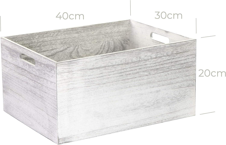 LAUBLUST Vintage Caja de Madera con Asas – 40 x 30 x 20 cm, Color Blanco, FSC® – Caja de Almacenamiento: Amazon.es: Hogar
