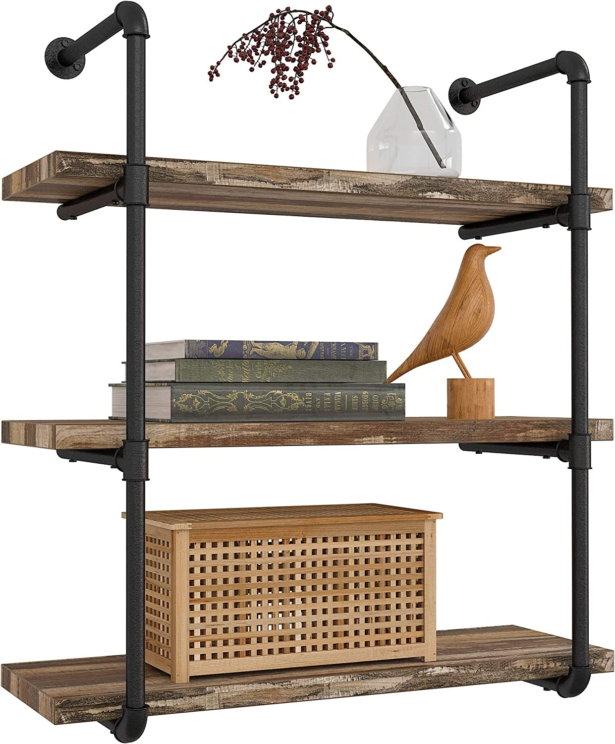 Amazon Com Ironck Industrial Shelving Pipe Shelf 3 Tier Planks Included Rustic Home Decor Wall Decor Wall Shelves For Bedroom Bathroom Kitchen Kitchen Dining