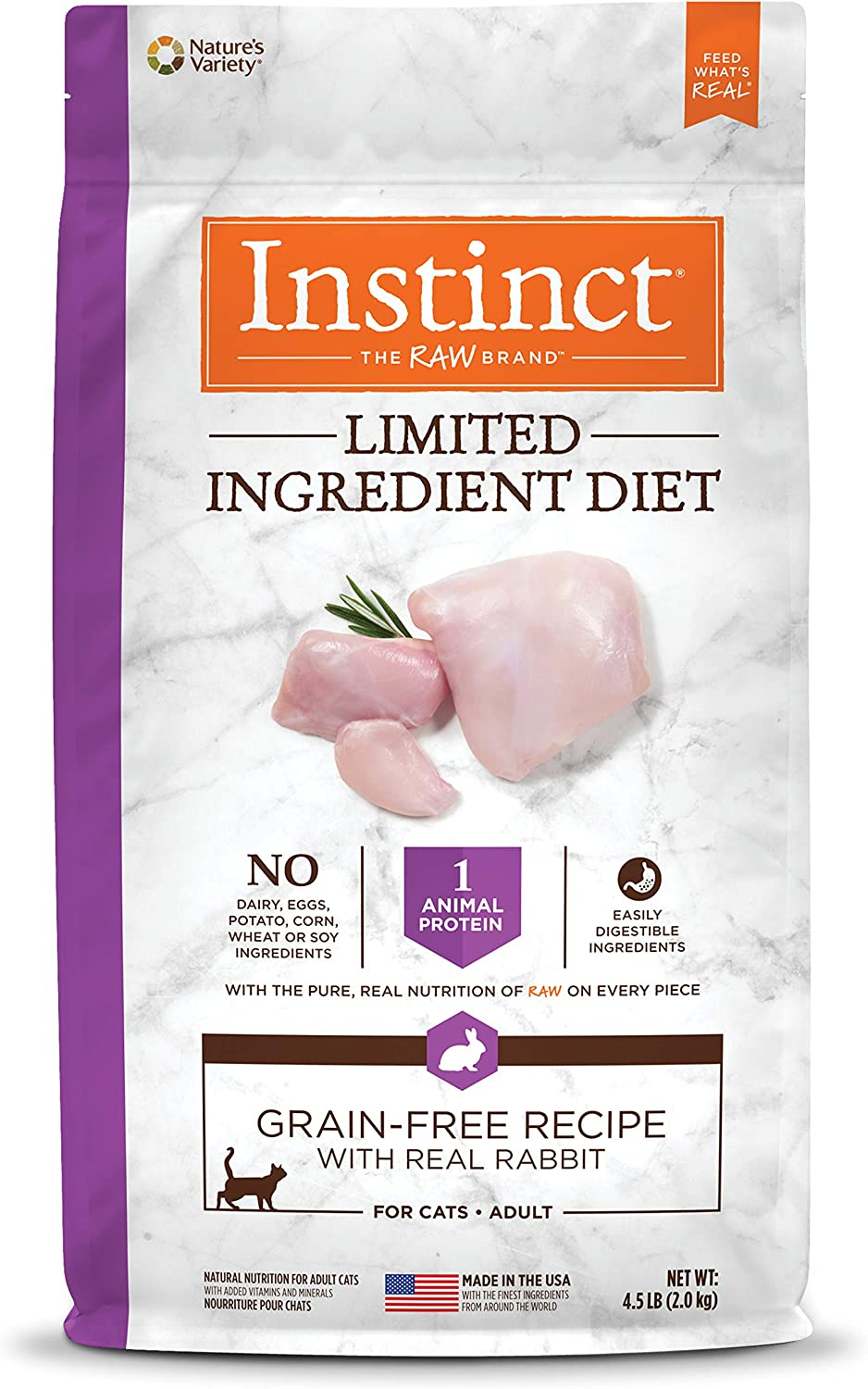 Instinct Limited Ingredient Diet Grain Free Recipe with Real Rabbit Natural Dry Cat Food by Nature's Variety, 4.5 lb. Bag