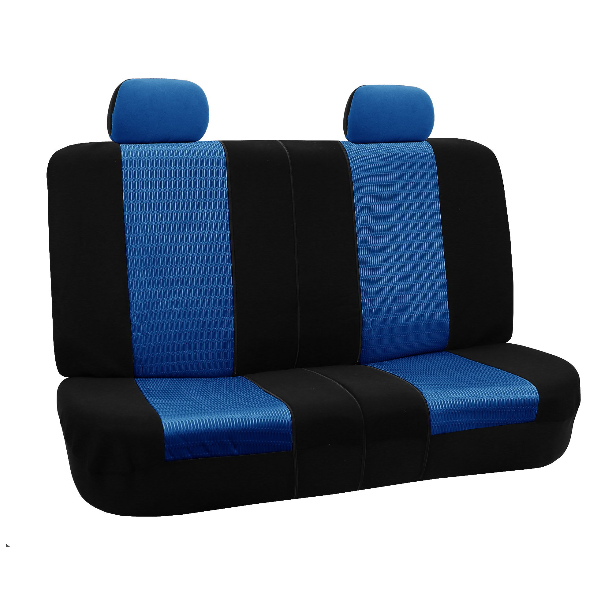 FH GROUP FH-FB060R012 Trendy Elegance Bench Seat Covers, Airbag Compatible and Split Bench, Blue/Black Color by FH Group