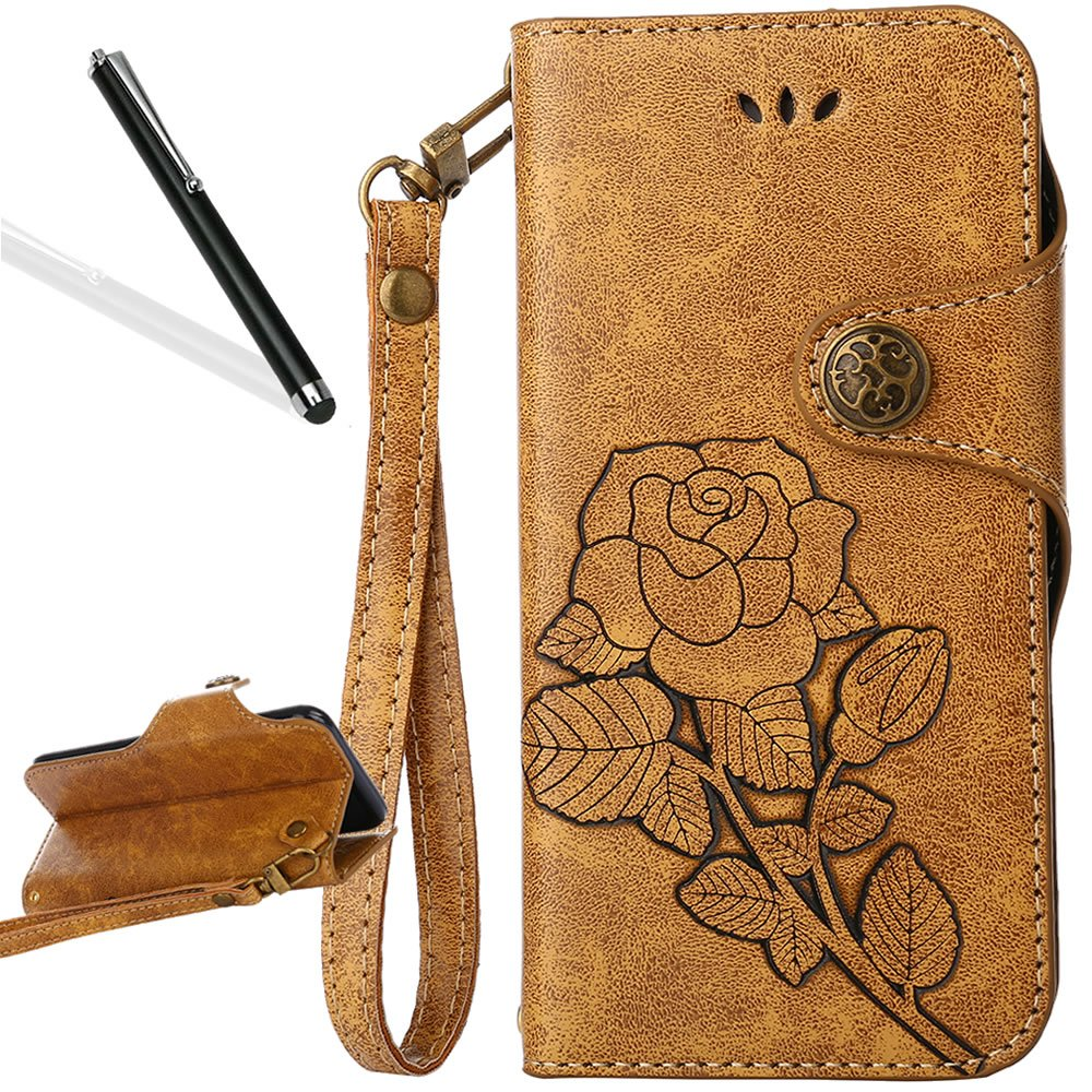 Galaxy S4 Mini Flip Case, Galaxy S4 Mini Wallet Case, Leeook Retro Elegant Blue Rose Flower Leaf Creative Pattern Design Luxury PU Leather Magnetic Closure Buckle Flip Wallet Folio Inner Soft TPU Case with Card Slots Stand Function Book Style Strip Bumper