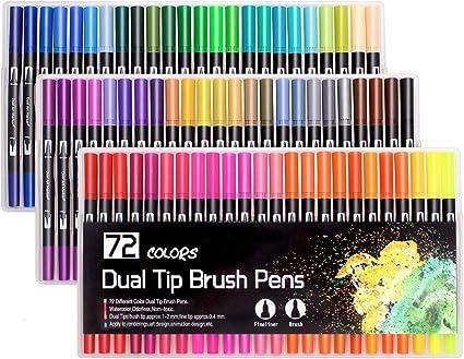 Laconile Feutres 72 Feutres Pinceaux Feutre Coloriage Pour Dessin Peinture Coloriage Adulte Noir Amazon Fr Fournitures De Bureau