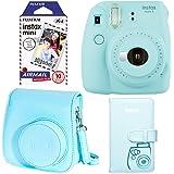 Fujifilm Instax Mini 9 - Ice Blue Instant Camera, Fujifilm Instax Mini Airmail Film, Fujifilm Instax Groovy Camera Case - Blue and Fujifilm INSTAX WALLET ALBUM 108 BLUE