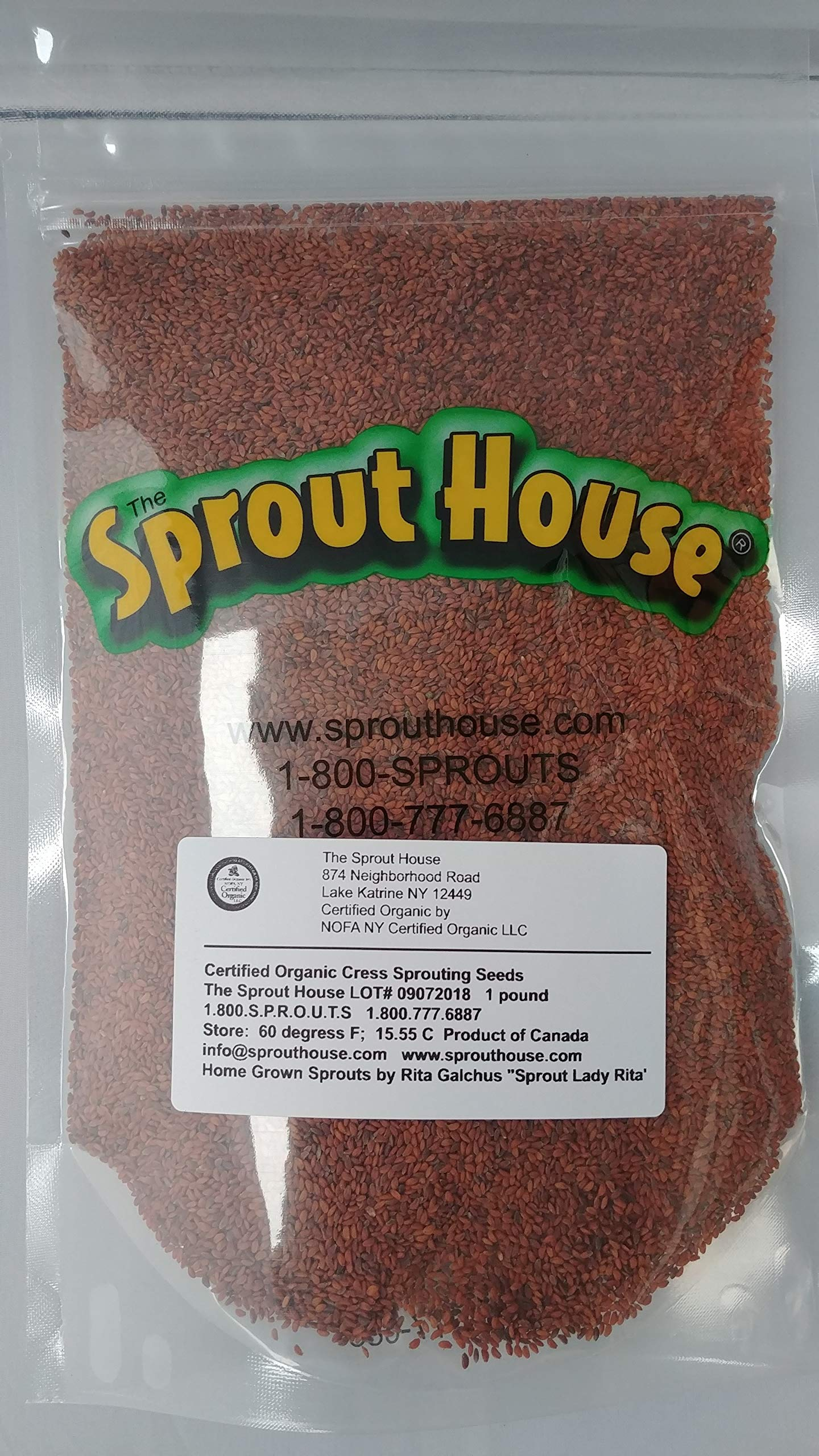 The Sprout House Certified Organic and Non-GMO Garden Cress Sprouting Seeds 1 Pound by The Sprout House