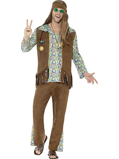 70s Costumes: Disco Costumes, Hippie Outfits Smiffys Mens 60s Hippie Costume with Pants Top Waistcoat $34.35 AT vintagedancer.com