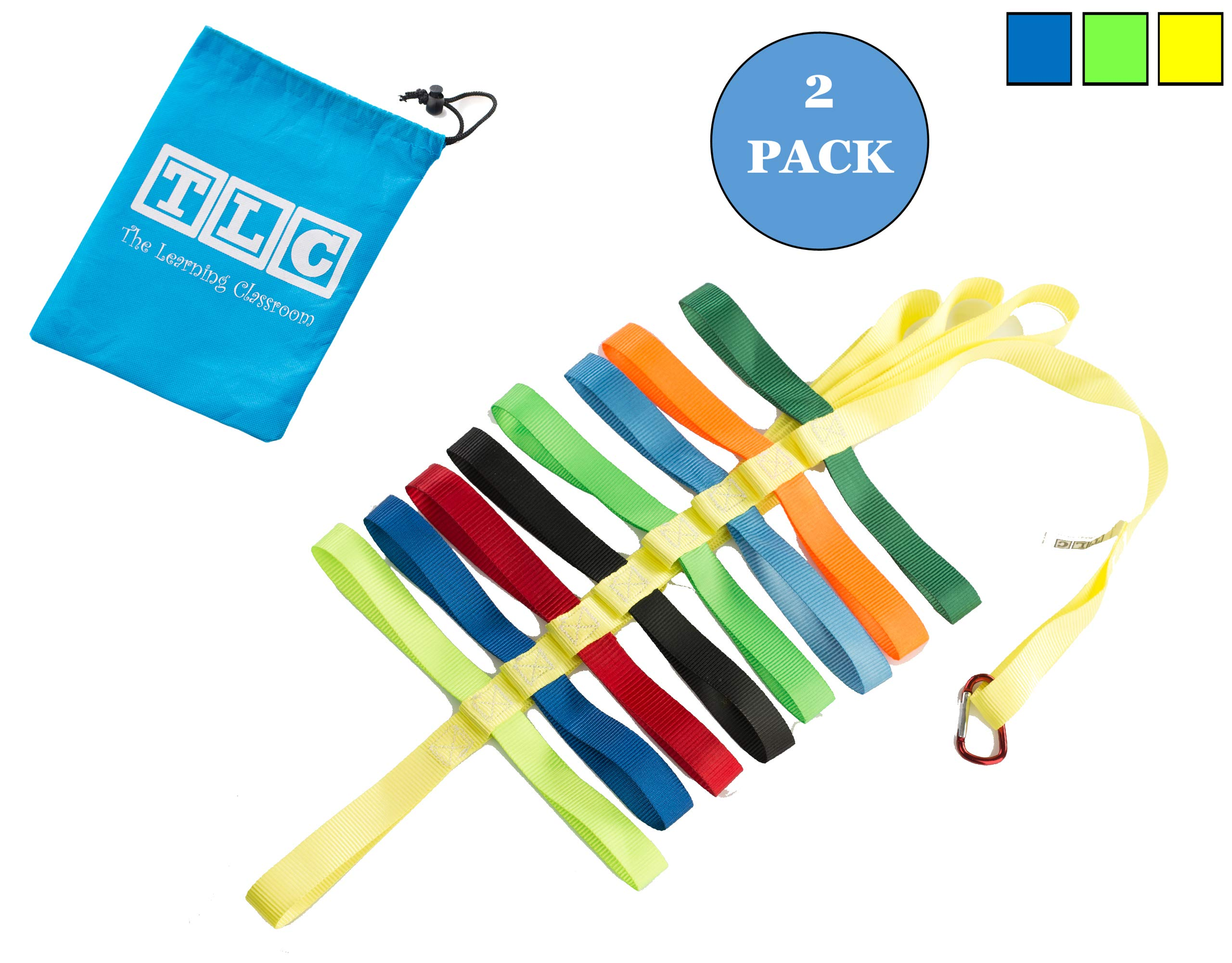 The Learning Classroom Preschool Walking Rope, Carry Bag, 16-Colorful Handles, Blue/Green/Yellow, 1-Pack or 2-Pack, Daycare, Toddler by The Learning Classroom (Image #1)