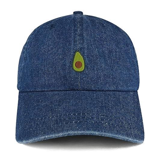 Trendy Apparel Shop Avocado Embroidered 100% Cotton Denim Cap Dad Hat - Dark  Blue 496019890663
