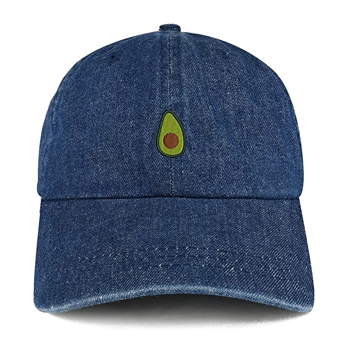 5f6de18cf87c7 Trendy Apparel Shop Avocado Embroidered 100% Cotton Denim Cap Dad Hat -  Dark Blue