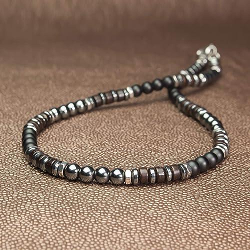 collier homme perles noires
