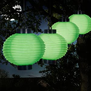 Pure Garden Solar Outdoor Lantern - Hanging Nylon Rechargeable LED Chinese Lighting for Garden, Patio, Gazebo, or Backyard (Green, Set of 4)