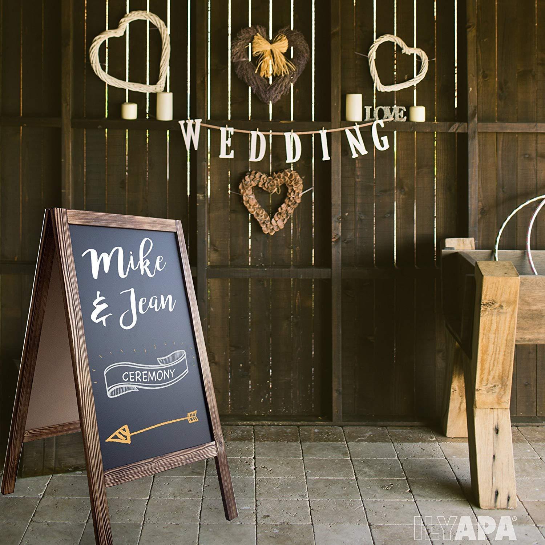 Wooden A-Frame Sign with Eraser & Chalk - 40'' x 20'' Magnetic Sidewalk Chalkboard – Sturdy Freestanding Sandwich Board Menu Display for Restaurant, Business or Wedding by Ilyapa (Image #6)