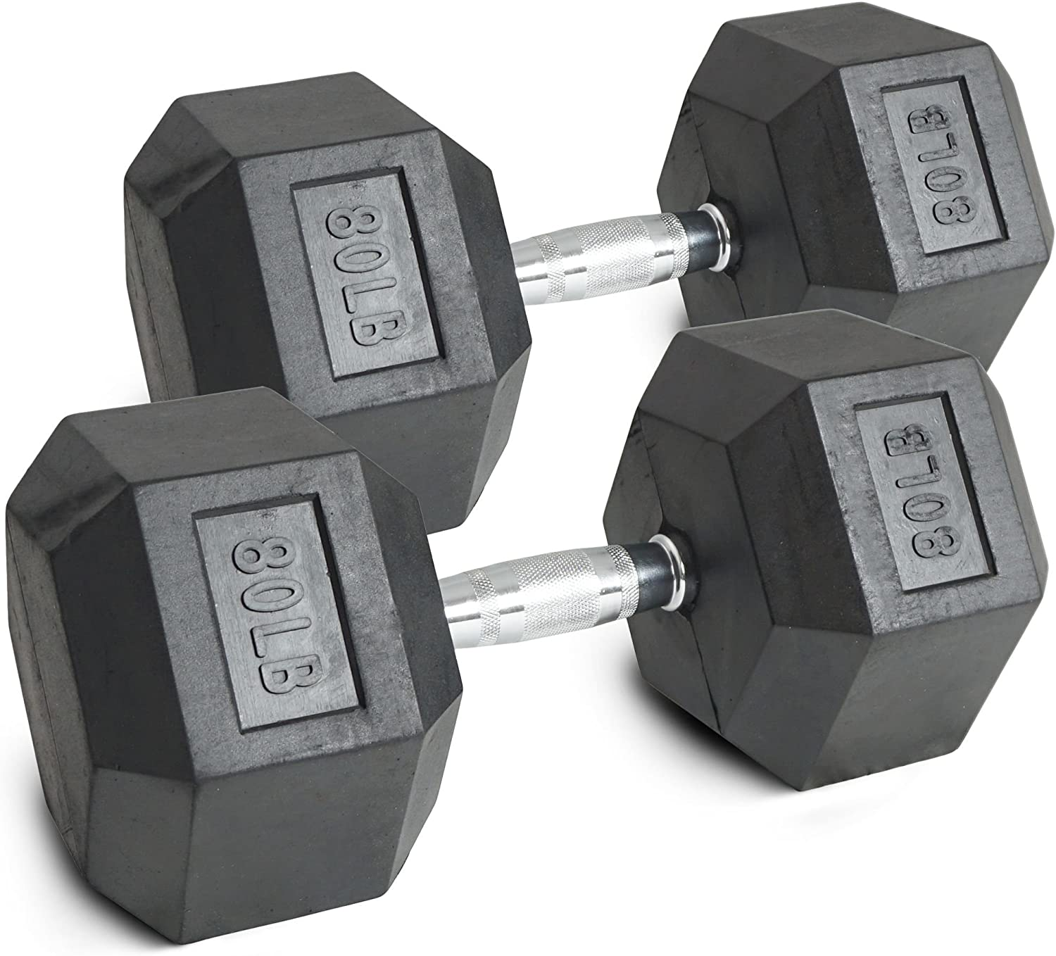 TITAN FITNESS Black Rubber Coated Hex Dumbbells Weight Training