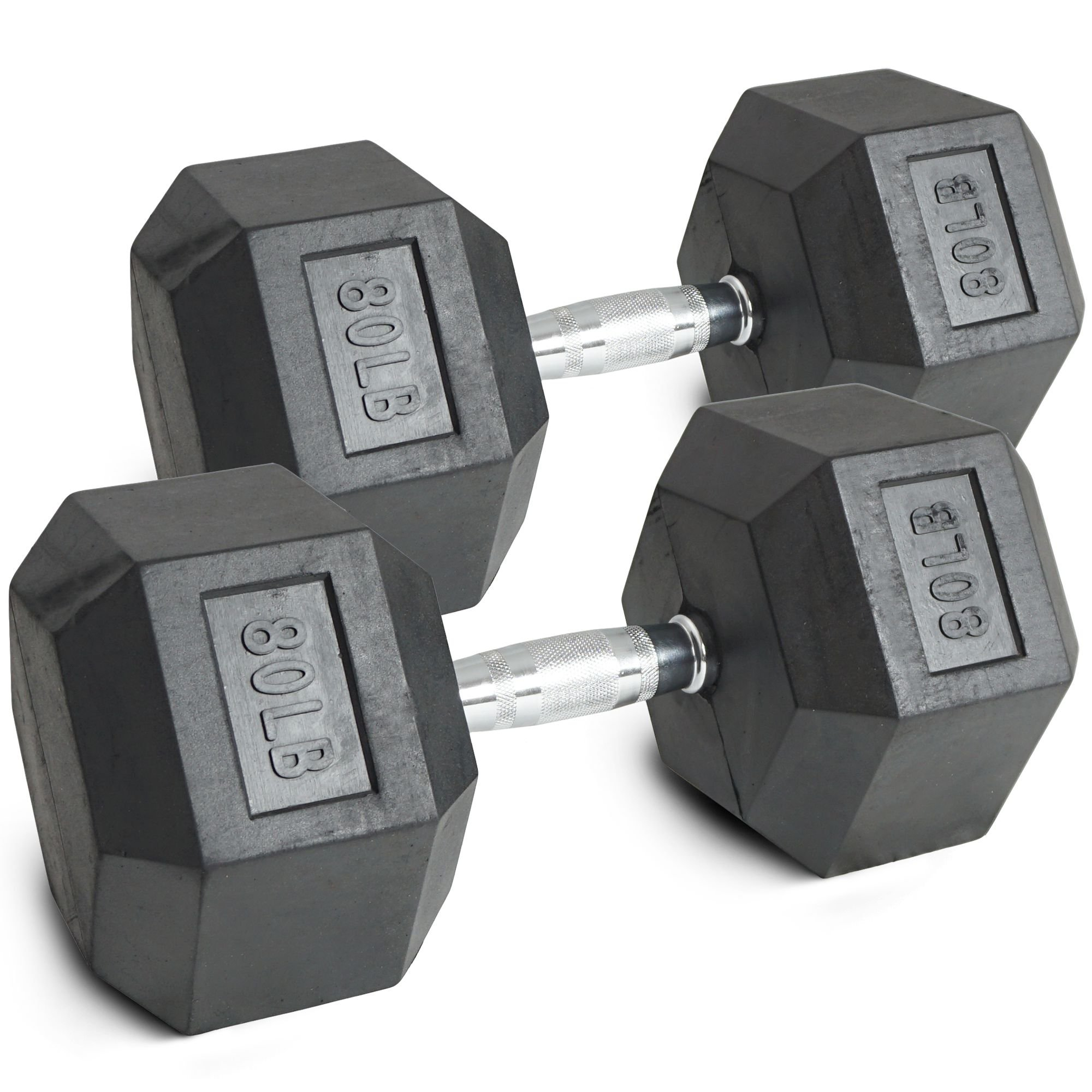Pair 80 lb Black Rubber Coated Hex Dumbbells Weight Training Set 160 lb Fitness