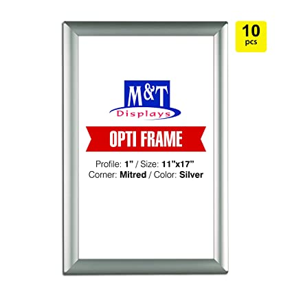 """Silver Front Loading Safe Corners 1/"""" Profile Wall Mounted 11x17 Snap Frame"""