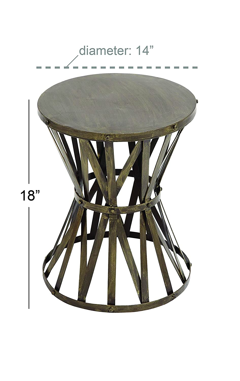 14 by 18-Inch Deco 79 Metal Accent Table