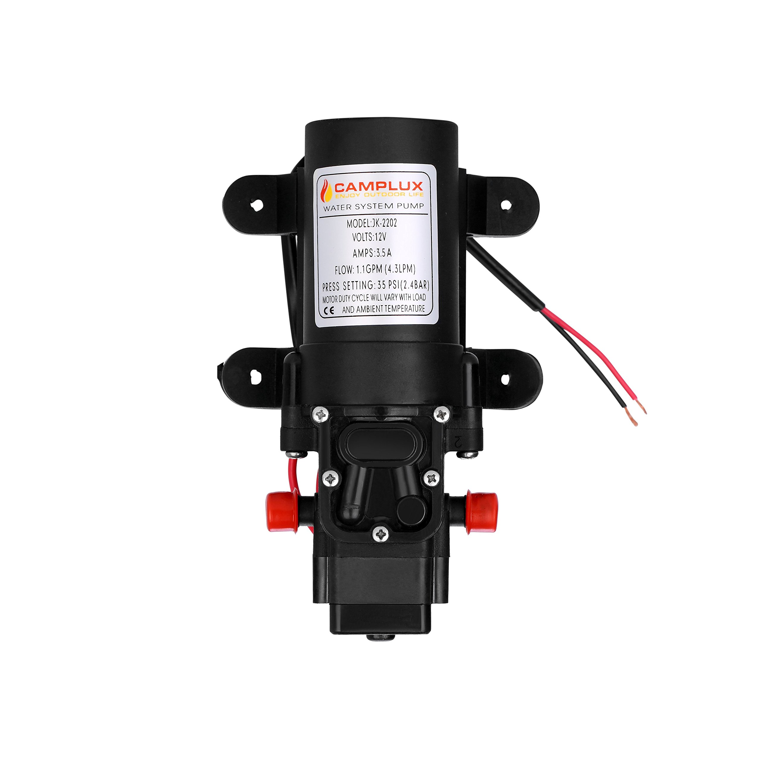 Camplux 12V Water Pump 35PSI DC 1.2GPM 4.3LPM Diaphragm for Caravan RV Marine Fishing Boat by CAMPLUX ENJOY OUTDOOR LIFE