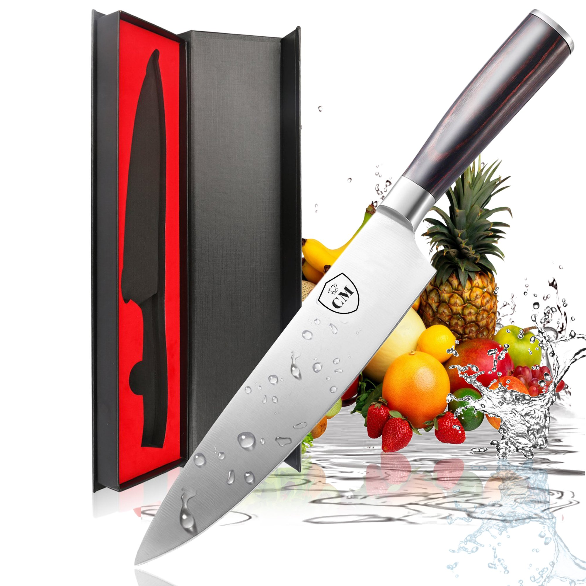 Chef Knife by Chef's Main, Chefs knife 8 inch, Kitchen Knife, Stainless Steel, High Carbon, Ergonomic Pakka Wood Handle, Ultra Sharp Edge knife for Chefs