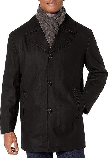 London Fog Mens Amity 34 Wool Blend Car Coat with Scarf